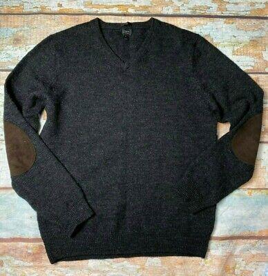 J. Crew merino wool gray v neck sweater men's size M elbow patch