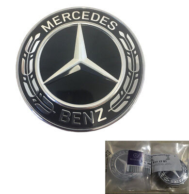 Mercedes Benz Black Wreath Flat Bonnet Badge Emblem A0008171701 NEW 57mm