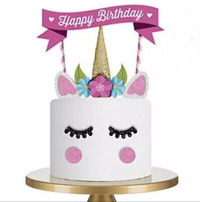 Einhorn Kuchentopper Caketopper DIY Dekoration Geburtstag Deko Happy Birthday Happy Birthday Kuchen Dekoration