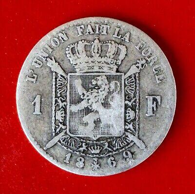 Belgique - Léopold II - Rare monnaie de 1 Franc 1869 FR