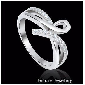 Infinity-RING-Ribbon-Eternity-Dress-925-Sterling-Silver-Rhodium-Sz-7-5-Free-Gift