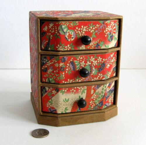 "Vintage Japanese Paper Drawer Trinket Box 6"" Asian Origami Print Handmade"