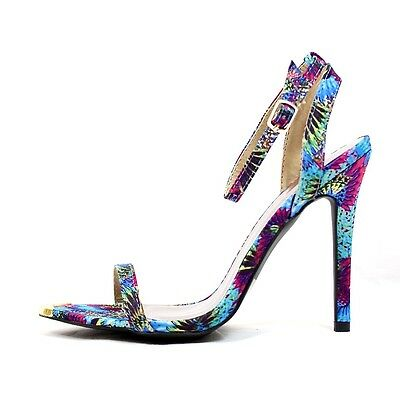 Qupid Frasier-01 Floral Print Gold Tip Ankle Strap Stiletto Open Toe Heel Sandal - Floral Open Toe