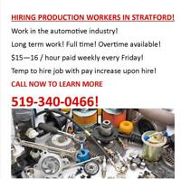 Full Time Production Positions - direct hire -519-340-0466