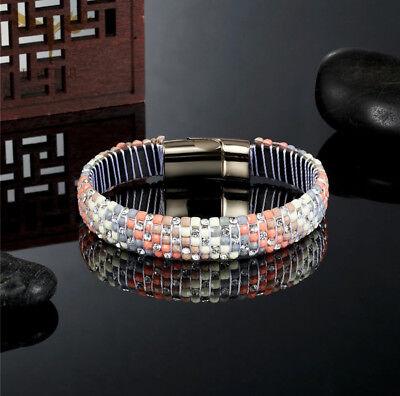 Handmade Bead&Crystal Bangle Bracelet With Gold Magnetic Closure Women ()
