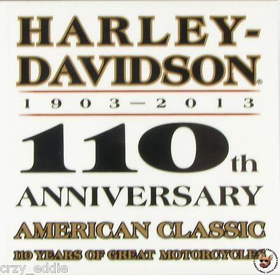 Harley Davidson 110th Anniversary Square Decal - Made In Usa
