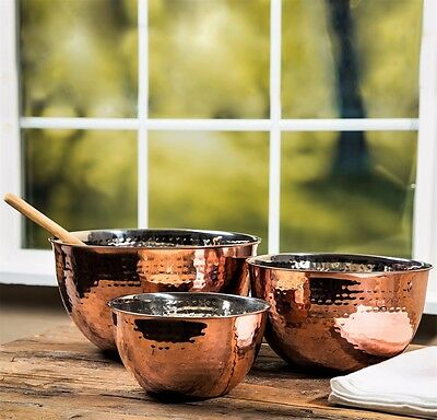 Hammered Stainless Steel Copper Mixing Bowl Set of 3