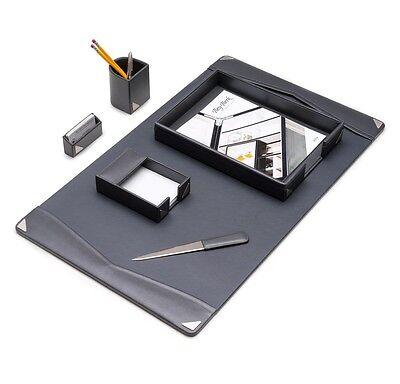 Bey-berk 6 Piece Grey Leather Desk Set