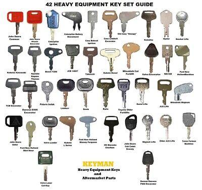 42 Heavy Equipment Construction Ignition Key Set Case Cat Komatsu Jd Jcb Kubota