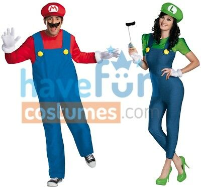 Mario Luigi Womens Halloween Costumes (Couples Costumes Mario and Luigi Adult Mens Womens Halloween)