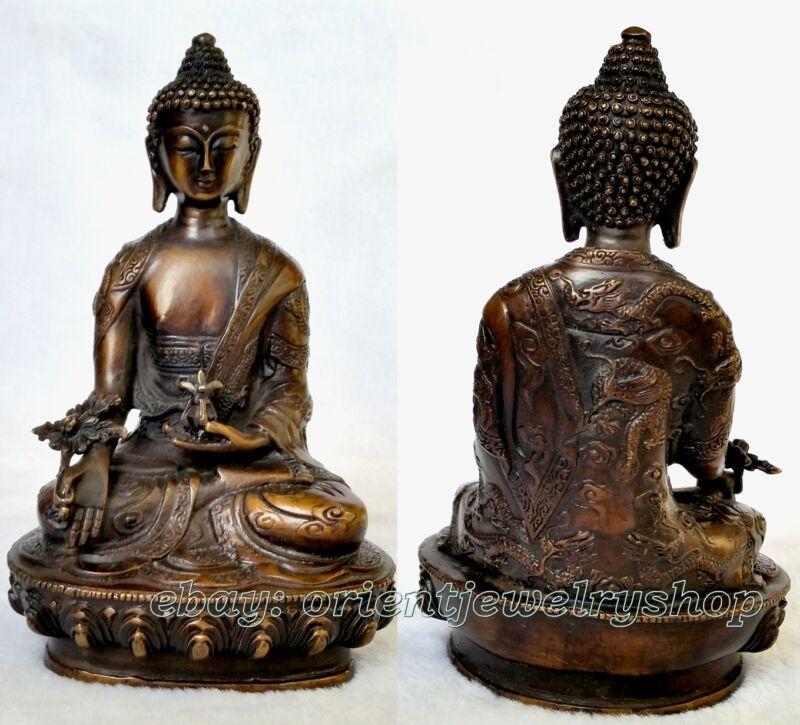 Old Bronze Buddhism Bodhisattva Sakyamuni Buddha Archaic Statue dragon