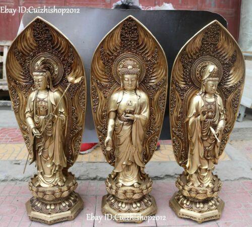 31 China Bronze Lotus Flower Western Shakyamuni Kwan-Yin God Statues Set