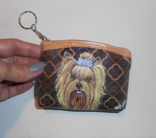 Yorkshire Terrier Yorkie Dog Painted Coin Purse with Key chain Vegan