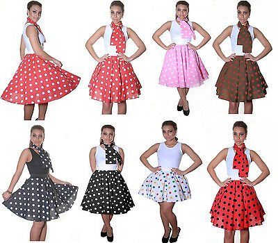 LADIES ROCK AND ROLL SKIRT & SCARF WOMEN POLKA DOT FANCY DRESS HEN PARTY - Rock And Roll Outfits