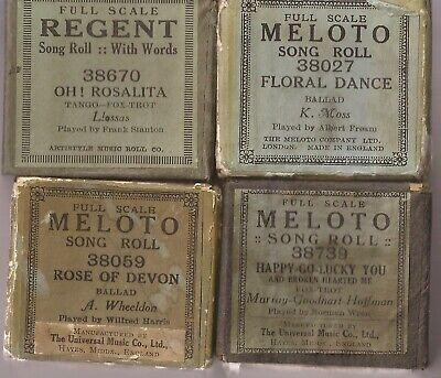 4 Pianola Rolls Rare Tango Foxtrot Ballad all with WORDS for singing to.