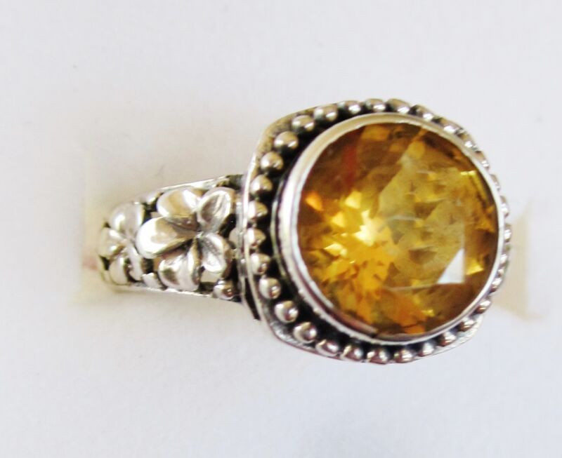 Citrine & Sterling Silver Flower Ring   size 6.5