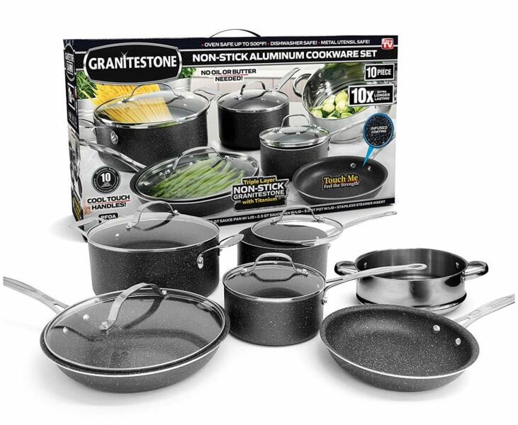 Granite Stone Diamond Ultimate Nonstick 10 Piece Kitchen Cookware Set – NEW! 1