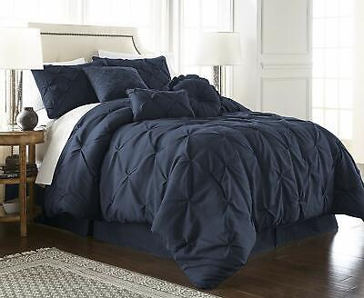 Chezmoi Collection Sydney 7-Piece Navy Pinch Pleat Pintuck Style Comforter Set