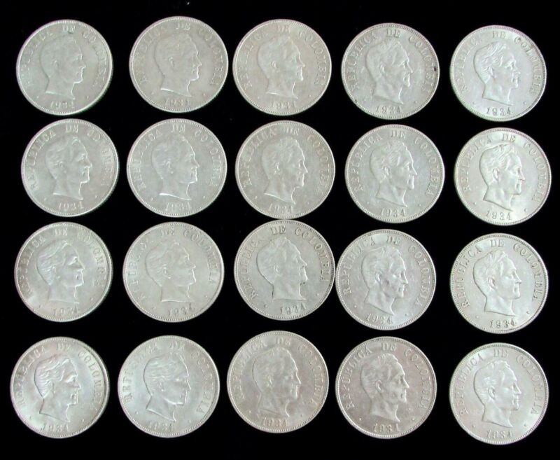 1934 SILVER COLOMBIA 50 CENTAVOS USA PHILADELPHIA MINT ROLL OF 20 COINS AU-BU