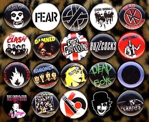 Punk button pin set of 20 misfits crass fear dead boys cramps adicts buzzcocks