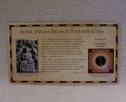 Soter Megas Bronze Tetradrachm Coin - 1st Century Kushan Empire Circa 80-90 A.D.