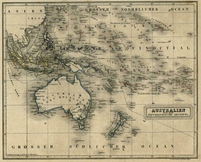 Oceania Polynesia Pacific Islands Australia New Zealand 1854 Biller engraved map