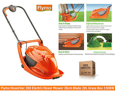 Flymo HoverVac 280 Electric Hover Mower Lawnmower 28cm Blade 20L Grass Box 1300W