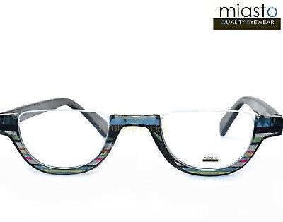 MIASTO TOP RIMLESS HALF MOON 1/2 OVAL READER READING GLASSES+1.75 GRAY (Large Rimless Glasses)