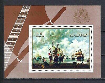Sealand 1970  Painting-Naval Battle  MNH Souvenir Sheet-Fantasy Issue