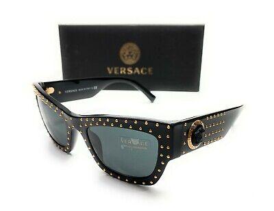 Versace VE4358 GB187 Black Gold Women's Rectangle Sunglasses 52-22