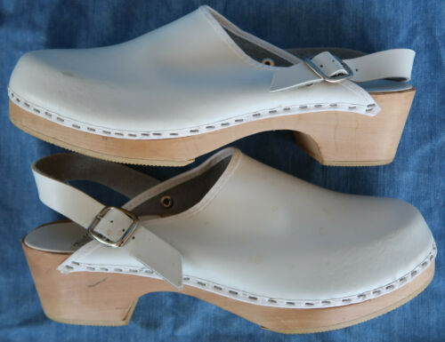 VTG 80s NURSE MATES LEATHER CLOG WOODEN shoe ITALY WHITE 7.5 8 WOMENS MULE NWOT