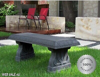 Concrete Stone Garden Bench Curved Patio Outdoor Sturdy Backless Seat Antique (Stone Garden Seat)