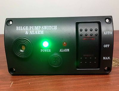 MARINE BOAT BILGE ALARM AND PUMP SWITCH ABS MANUAL AUTOMATIC OFF SPRING RETURN