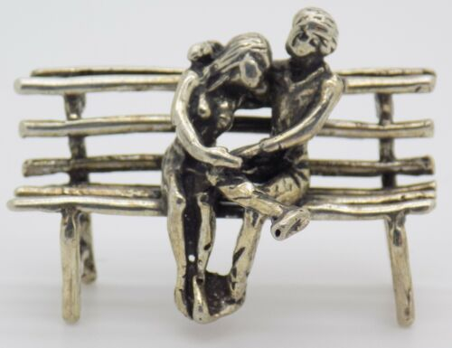 Vintage Solid Silver Italian Made Hugging Couple Figurine Stamped Miniature