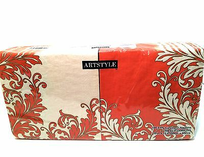 ArtStyle Paper Napkins 150 Luncheon Party Florished Pink Coral 3 Ply 13 x 13 in  - Coral Paper Napkins