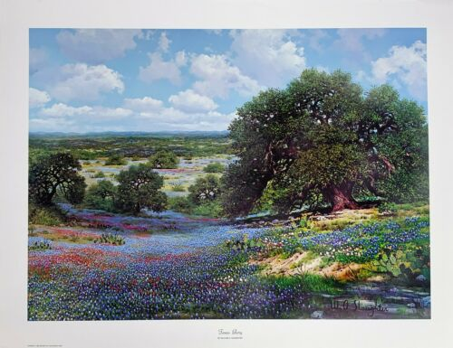 "W. A. Slaughter, Rare Limited Edition Print, Bluebonnet Landscape, ""Texas Glory"""