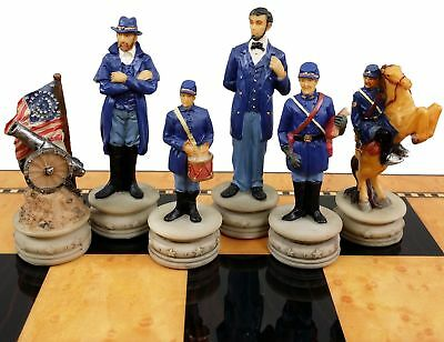 US American Civil War Generals Painted Set of Chess Men Pieces - NO BOARD American Civil War Chess Pieces