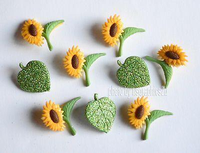 Fall Leaf Crafts (Fall Blooms - Sunflower & Green Glitter Leaf Buttons / Jesse James / Dress It)