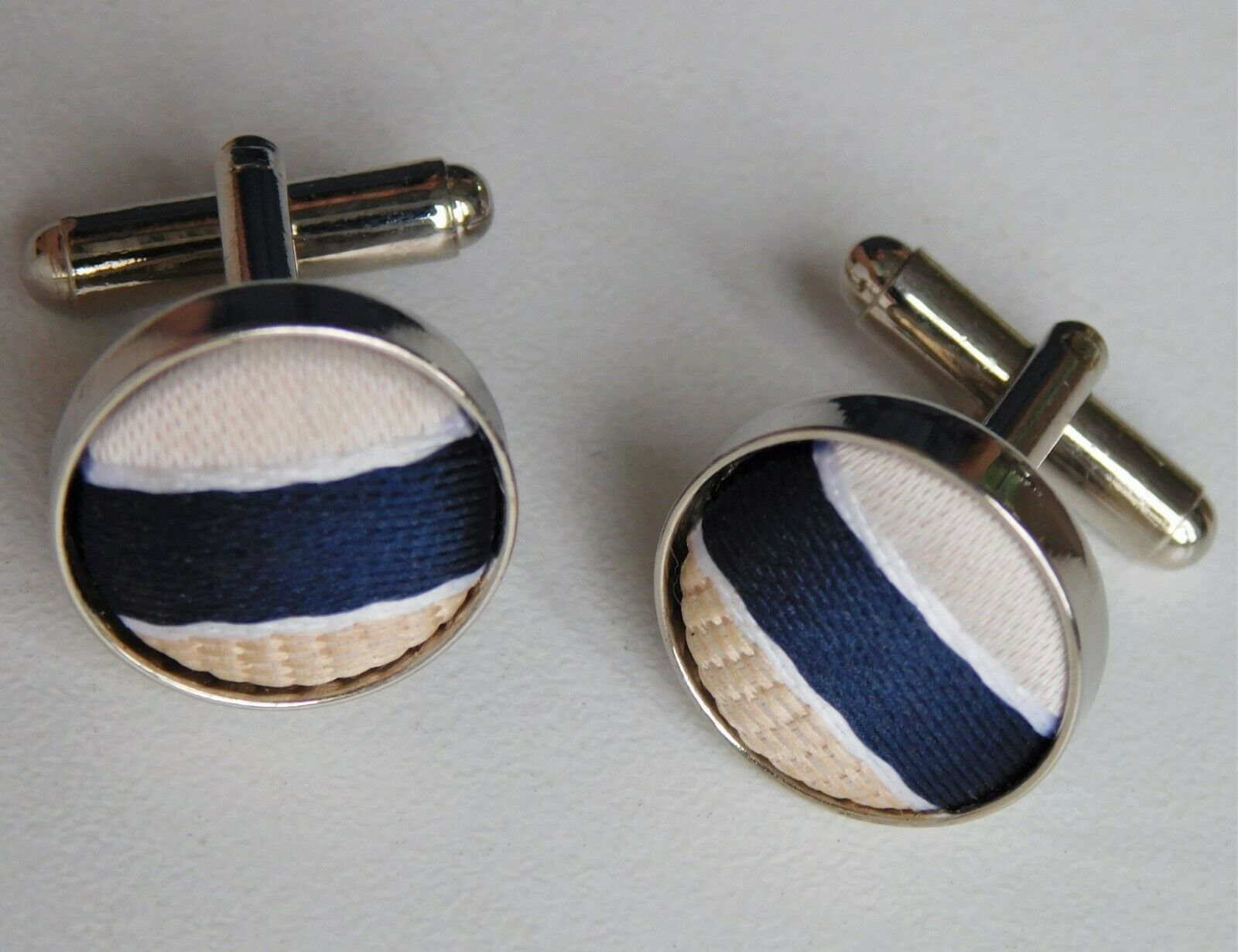 Mens silk cufflinks striped navy blue gold ivory and white ma