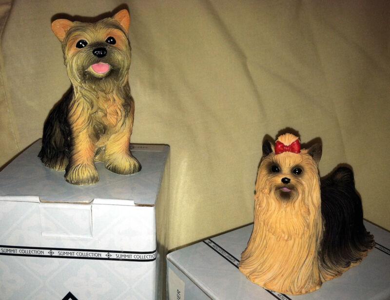 2 Yorkshire - Yorkie -Terrier Figurine Summit Collection Model #6324 & 4772 NIB