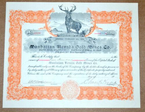 Manhattan Nevada Gold Mines Co. antique stock certificate - scam