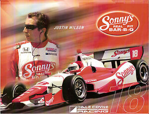 2012-JUSTIN-WILSON-INDIANAPOLIS-500-PHOTO-CARD-POSTCARD-INDY-CAR-HONDA-RACING