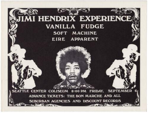 JIMI HENDRIX Vanilla Fudge SOFT MACHINE Authentic 1968 Seattle Concert Handbill