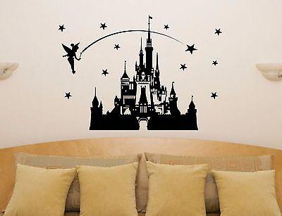 Disney Schloss Märchen Prinzessin Tinkerbell Wanddekoration Aufkleber Bild ()