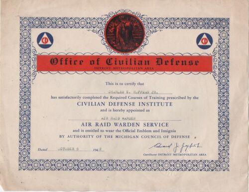 1942 Office of Civilian Defense Certificate for Air Raid Warden Detroit Michigan