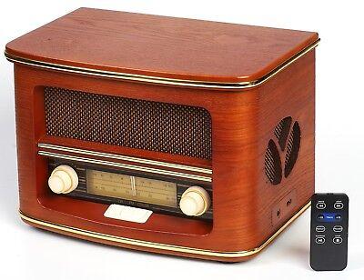 Nostalgie Holz Radio Retro Musikanlage CD MP3 USB Player Nostalgieradio NEU