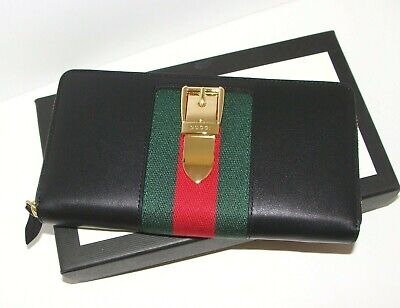 NWT Gucci Sylvie zip-around wallet in Blk Leather w/ Metal Buckle & Red+Grn Web