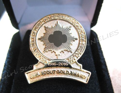 Girl Scout PIN BROOCH 100th Anniversary CURVED BAR, GOLD AWARD COLLECTOR GIFT