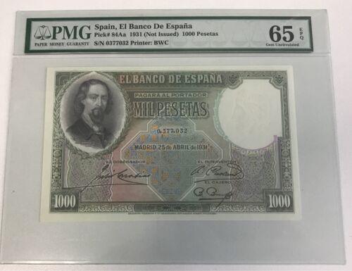 PMG 65 Spain 1931 Banknote 1000 Pesetas EPQ