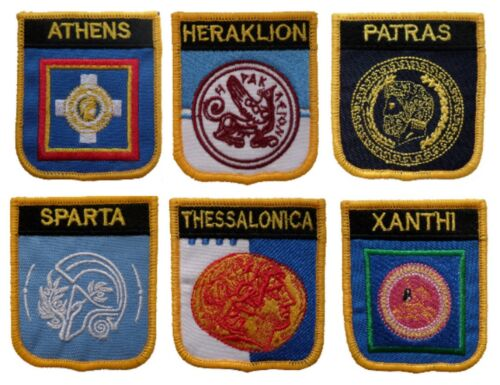 Greece Town & City Shield Embroidered Patches - 7 To Choose From